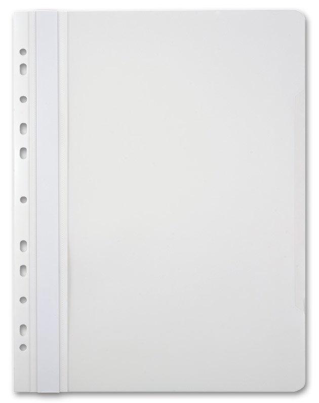 Папка-скоросшиватель Бюрократ -PS-P20WH A4 прозрач.верх.лист боков.перф. пластик белый 0.12/0.16