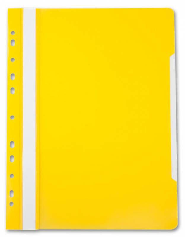 Папка-скоросшиватель Бюрократ -PS-P20YEL A4 прозрач.верх.лист боков.перф. пластик желтый 0.12/0.16