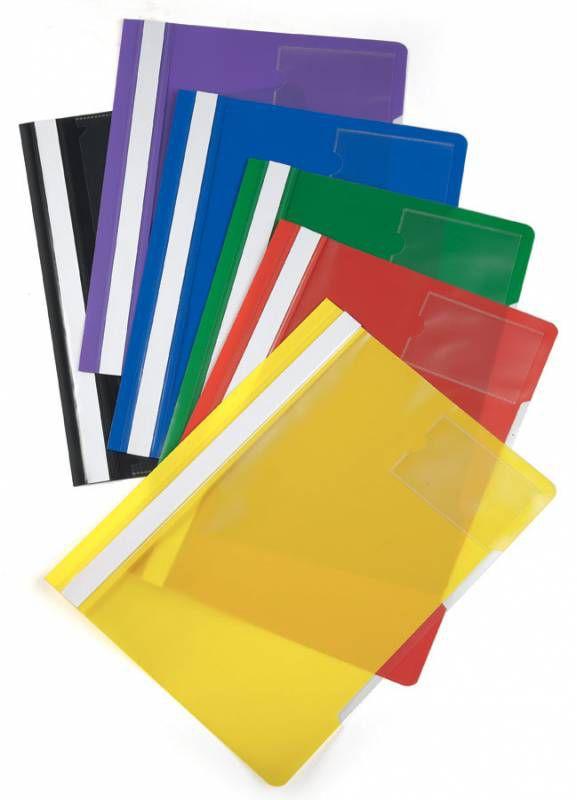 Папка-скоросшиватель Бюрократ -PS-V20/1 A4 прозрач.верх.лист карм.для визит. пластик ассорти 0.12/0.