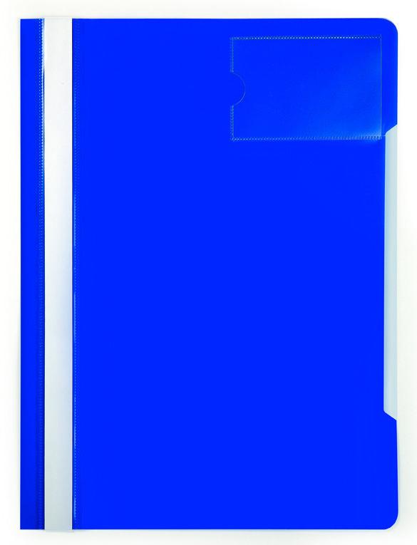 Папка-скоросшиватель Бюрократ -PS-V20BLU A4 прозрач.верх.лист карм.для визит. пластик синий