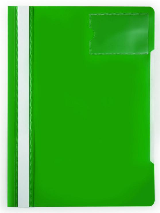 Папка-скоросшиватель Бюрократ -PS-V20GRN A4 прозрач.верх.лист карм.для визит. пластик зеленый 0.12/0