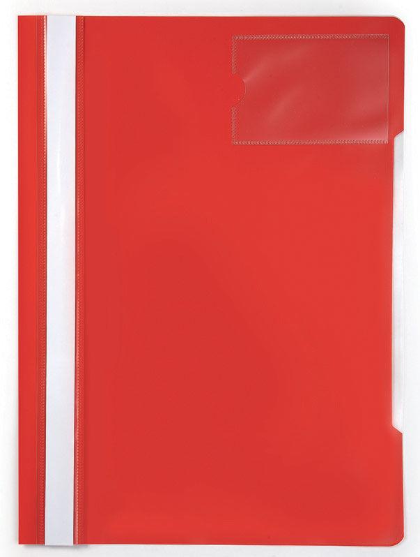 Папка-скоросшиватель Бюрократ -PS-V20RED A4 прозрач.верх.лист карм.для визит. пластик красный 0.12/0