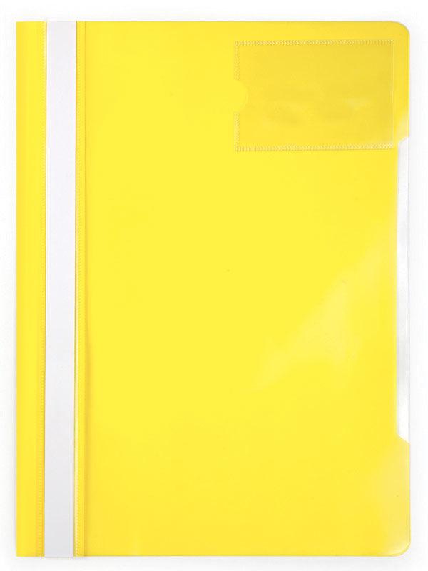 Папка-скоросшиватель Бюрократ -PS-V20YEL A4 прозрач.верх.лист карм.для визит. пластик желтый 0.12/0.