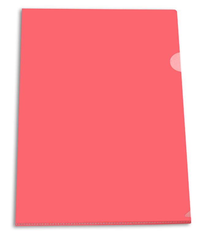 Папка-уголок Бюрократ Economy -E100RED тисненый A4 пластик 0.10мм красный