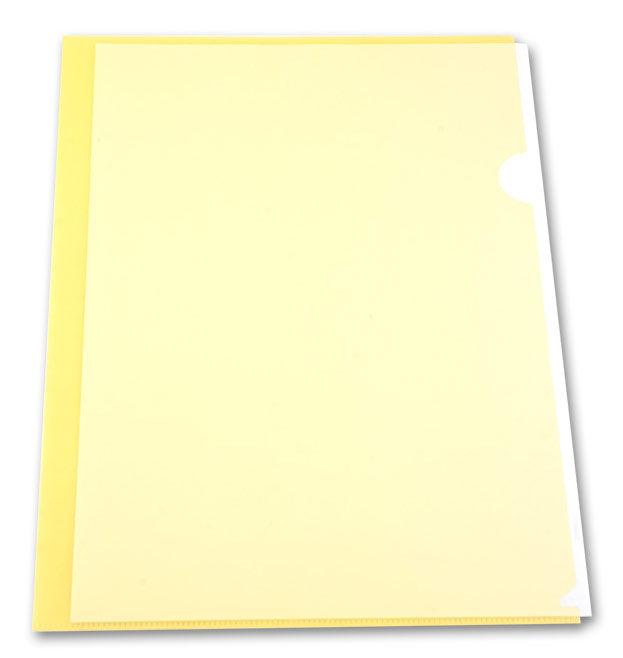 Папка-уголок Бюрократ Economy -E100YEL тисненый A4 пластик 0.10мм желтый