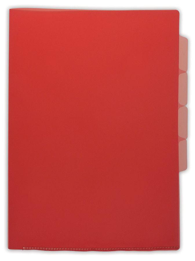 Папка-уголок Бюрократ -E356RED 3 уровн. A4 пластик 0.15мм красный