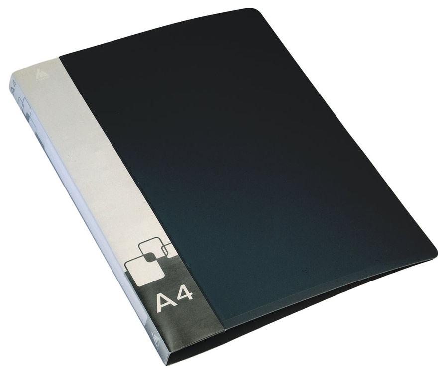 Папка на 2-х D-кольцах Бюрократ -0840/2DBLCK A4 пластик 0.8мм кор.40мм внут.и торц.карм черный