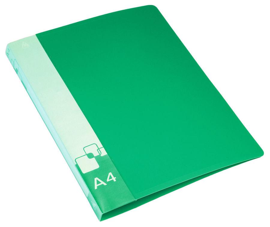 Папка на 4-х кольцах Бюрократ -0827/4RGRN A4 пластик 0.7мм кор.27мм внут.и торц.карм зеленый
