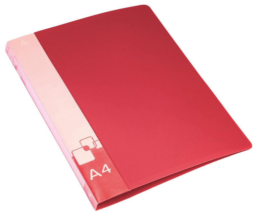 Папка на 4-х кольцах Бюрократ 0827/4RRED A4 пластик 0.7мм кор.27мм внут.и торц.карм красный