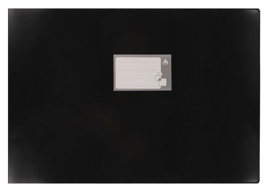 Папка на 4-х кольцах Бюрократ -0827GA3BLCK A3 гориз. пластик 0.8мм кор.27мм черный