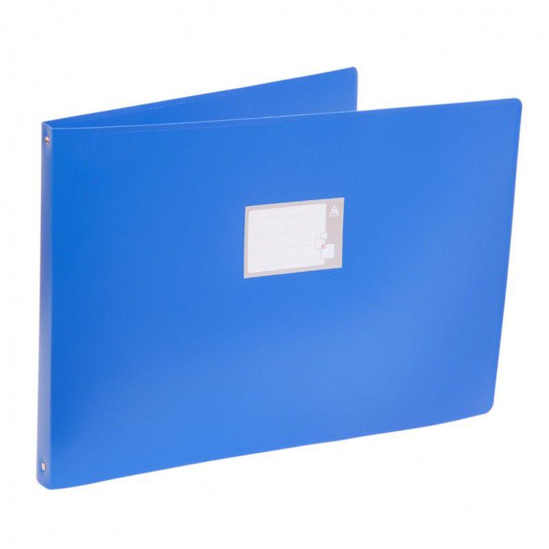 Папка на 4-х кольцах Бюрократ -0827GA3BLU A3 гориз. пластик 0.8мм кор.27мм синий