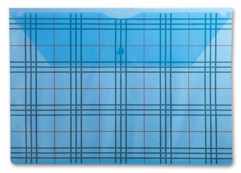 """Конверт на кнопке Бюрократ -PK801ABLU A4 с рисунком """"Клетка"""" пластик 0.18мм синий"""