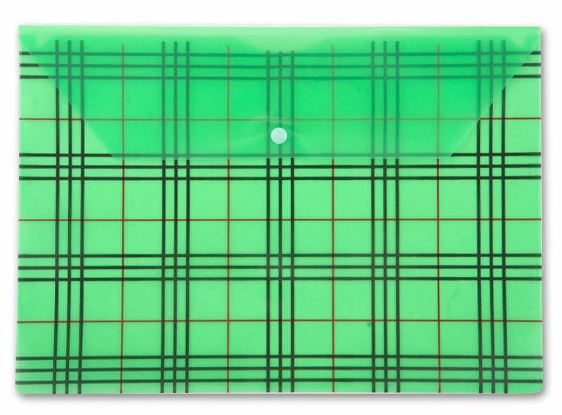 "Конверт на кнопке Бюрократ -PK801AGRN A4 с рисунком ""Клетка"" пластик 0.18мм зеленый"