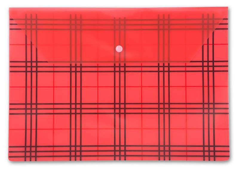 """Конверт на кнопке Бюрократ -PK801ARED A4 с рисунком """"Клетка"""" пластик 0.18мм красный"""