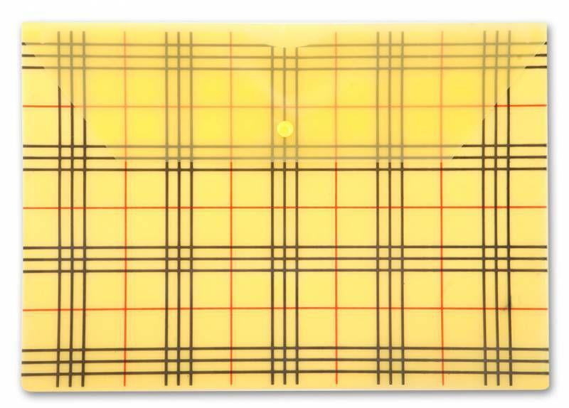 """Конверт на кнопке Бюрократ -PK801AYEL A4 с рисунком """"Клетка"""" пластик 0.18мм желтый"""