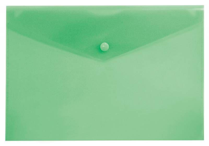 Конверт на кнопке Бюрократ -PK803TGRN A4 пластик 0.15мм зеленый