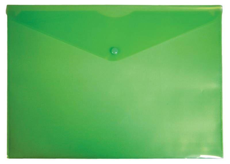 Конверт на кнопке Бюрократ -PK804A5GRN A5 пластик 0.18мм зеленый