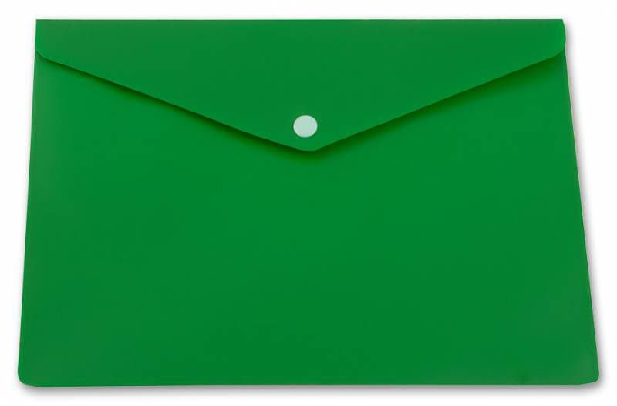 Конверт на кнопке Бюрократ -PK804A5NGRN A5 непрозрачный пластик 0.18мм зеленый