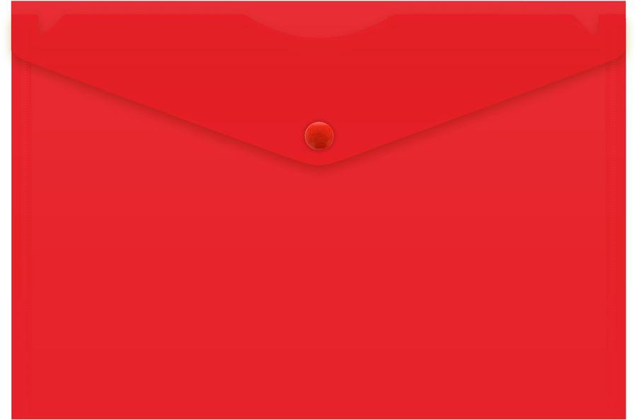 Конверт на кнопке Бюрократ -PK804A5NRED A5 непрозрачный пластик 0.18мм красный