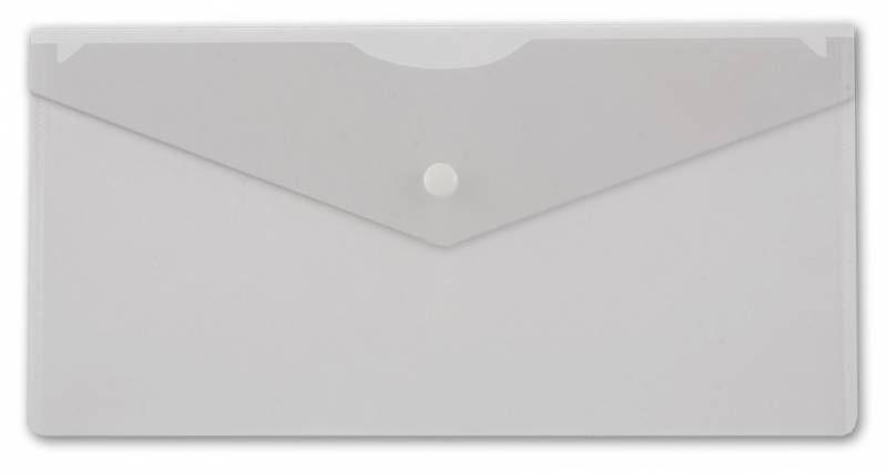 Конверт на кнопке Бюрократ -PK805ACLEAR пластик 0.18мм прозрачный TRAVEL формат