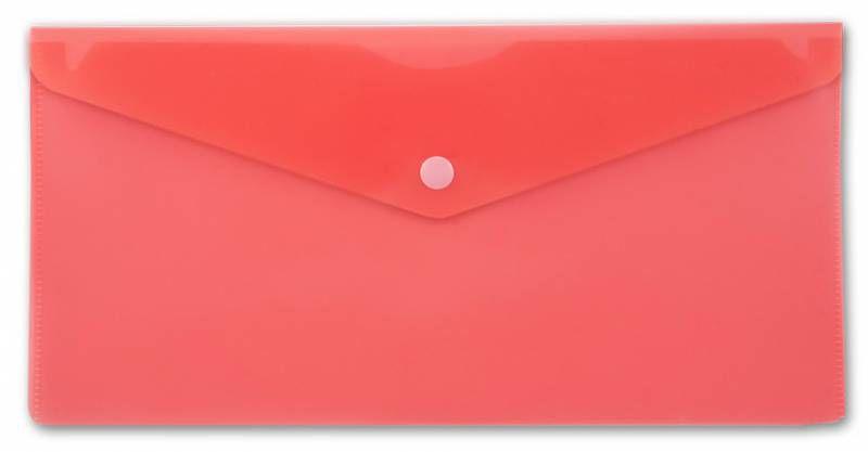 Конверт на кнопке Бюрократ -PK805ARED пластик 0.18мм красный TRAVEL формат