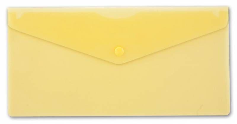 Конверт на кнопке Бюрократ -PK805AYEL пластик 0.18мм желтый TRAVEL формат