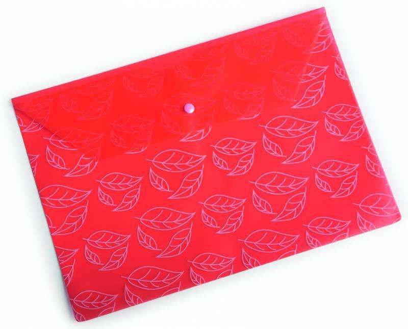 """Конверт на кнопке Бюрократ -PK810RED A4 с рисунком """"Листочки"""" пластик 0.18мм красный"""