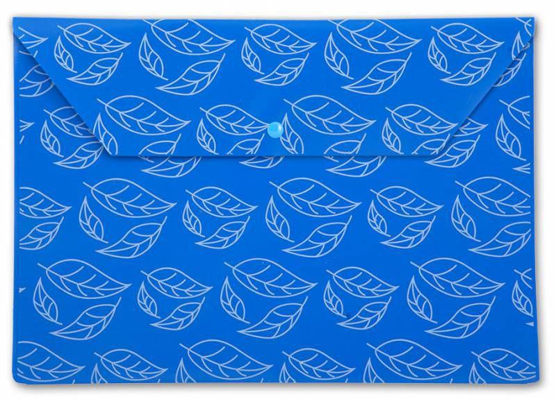 "Конверт на кнопке Бюрократ -PK813NBLU A4 с рисунком ""Листочки"" непрозрачный пластик 0.18мм синий"