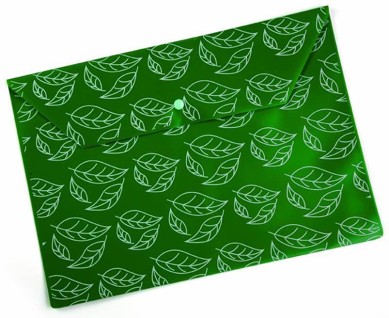 """Конверт на кнопке Бюрократ -PK813NGRN A4 с рисунком """"Листочки"""" непрозрачный пластик 0.18мм зеленый"""
