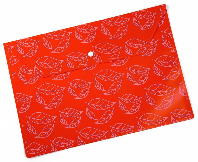 """Конверт на кнопке Бюрократ -PK813NOR A4 с рисунком """"Листочки"""" непрозрачный пластик 0.18мм оранжевый"""