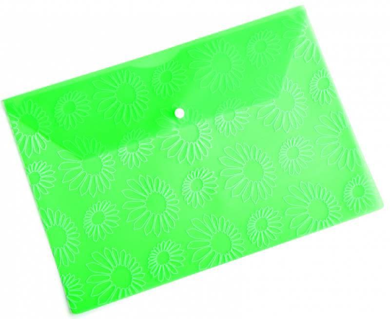 "Конверт на кнопке Бюрократ -PK820GRN A4 с рисунком ""Ромашки"" пластик 0.18мм зеленый"