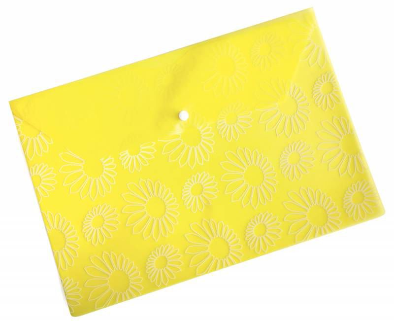 "Конверт на кнопке Бюрократ -PK820YEL A4 с рисунком ""Ромашки"" пластик 0.18мм желтый"