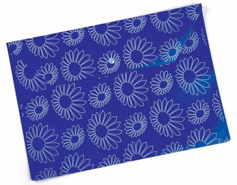 """Конверт на кнопке Бюрократ -PK823NBLU A4 с рисунком """"Ромашки"""" непрозрачный пластик 0.18мм синий"""