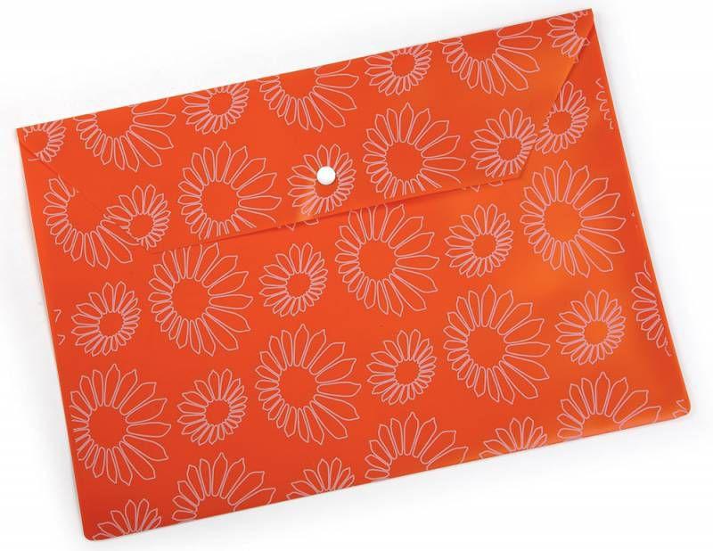 """Конверт на кнопке Бюрократ -PK823NOR A4 с рисунком """"Ромашки"""" непрозрачный пластик 0.18мм оранжевый"""
