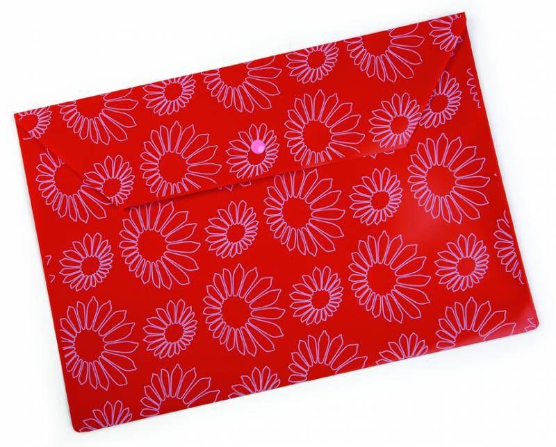 """Конверт на кнопке Бюрократ -PK823NRED A4 с рисунком """"Ромашки"""" непрозрачный пластик 0.18мм красный"""