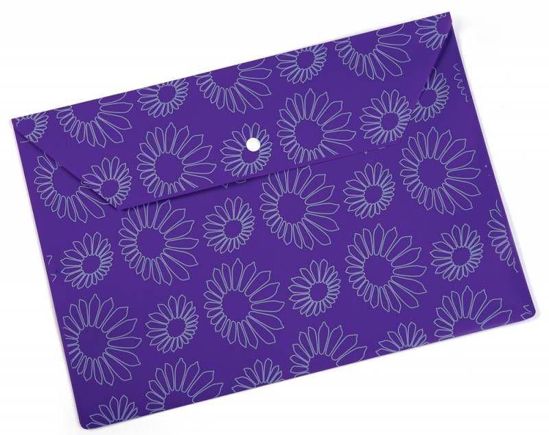 """Конверт на кнопке Бюрократ -PK823NVIO A4 с рисунком """"Ромашки"""" непрозрачный пластик 0.18мм фиолетовый"""