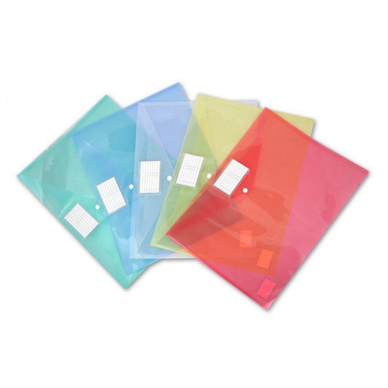 Конверт на кнопке Бюрократ -PKA3 A3 пластик 0.18мм ассорти карман для визитки