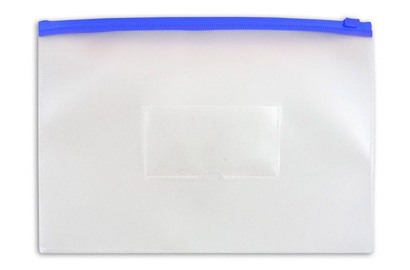 Папка на молнии ZIP Бюрократ -BPM4ABLUE A4+ пластик 0.15мм карм.для визит. цвет молнии синий