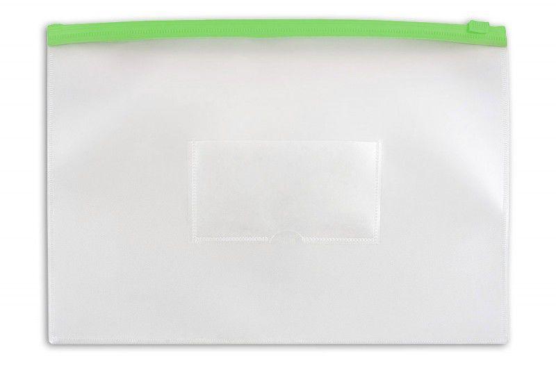 Папка на молнии ZIP Бюрократ -BPM4AGRN A4+ полипропилен 0.15мм карм.для визит. цвет молнии зеленый