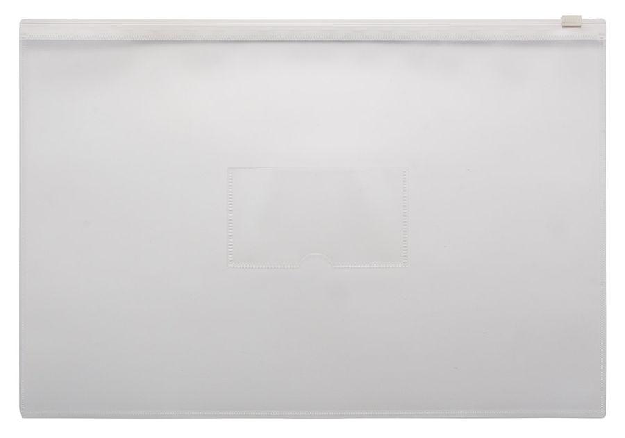 Папка на молнии ZIP Бюрократ -BPM4AWT A4+ полипропилен 0.15мм карм.для визит. цвет молнии белый
