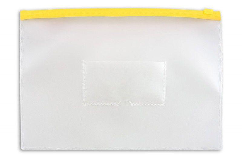 Папка на молнии ZIP Бюрократ -BPM4AYEL A4+ пластик 0.15мм карм.для визит. цвет молнии желтый