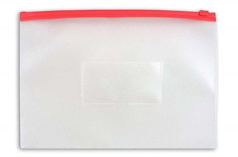 Папка на молнии ZIP Бюрократ -BPM5ARED A5 полипропилен 0.15мм карм.для визит. цвет молнии красный