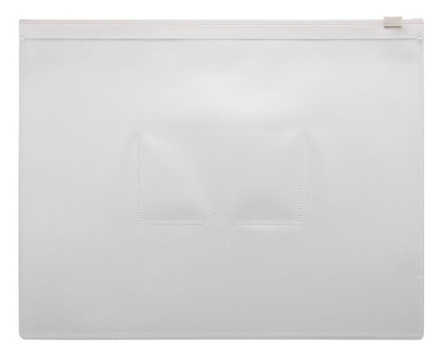 Папка на молнии ZIP Бюрократ -BPM5AWT A5 полипропилен 0.15мм карм.для визит. цвет молнии белый