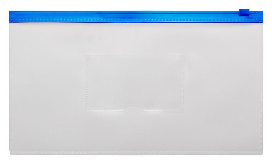 Папка на молнии ZIP Бюрократ -BPM6ABLUE полипропилен 0.15мм карм.для визит. цвет молнии синий Travel