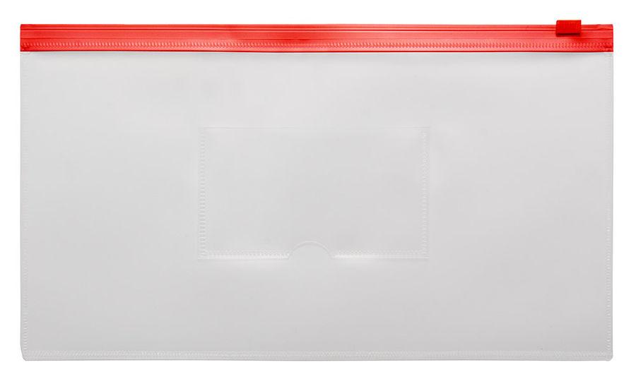 Папка на молнии ZIP Бюрократ -BPM6ARED полипропилен 0.15мм карм.для визит. цвет молнии красный Trave