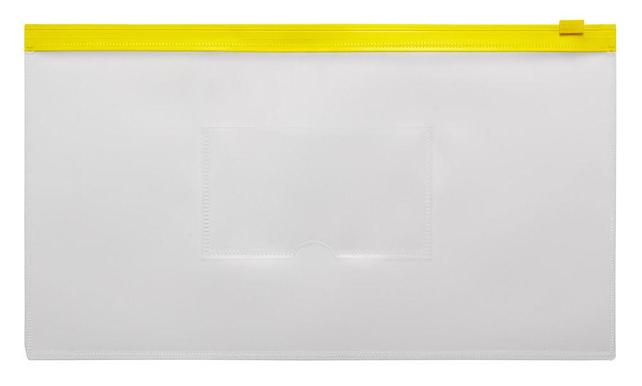 Папка на молнии ZIP Бюрократ -BPM6AYEL пластик 0.15мм карм.для визит. цвет молнии желтый Travel форм