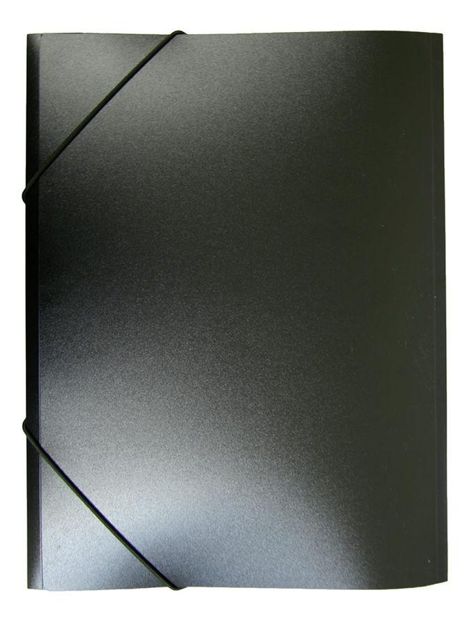 Папка на резинке Бюрократ -PR04BLCK A4 пластик кор.15мм 0.4мм черный