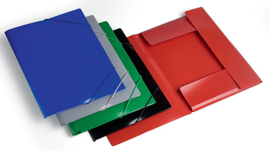Папка на резинке Бюрократ -PR04GREY A4 пластик кор.15мм 0.4мм серый
