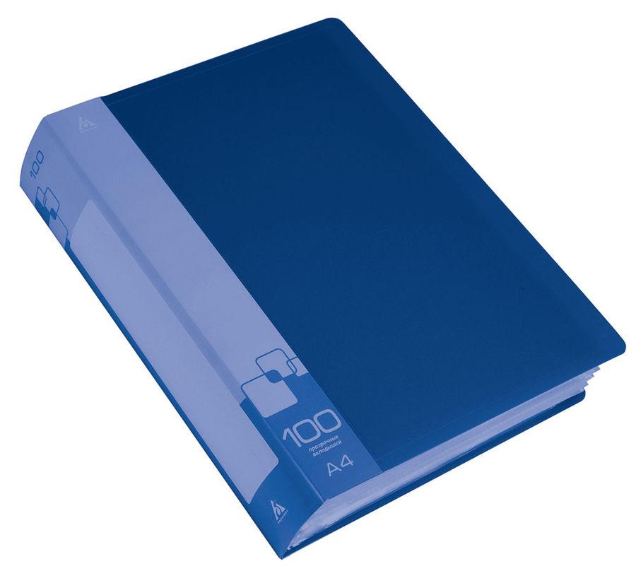 Папка с 100 прозр.вклад. Бюрократ -BPV100BLUE A4 пластик 0.8мм торц.карм с бум. встав синий