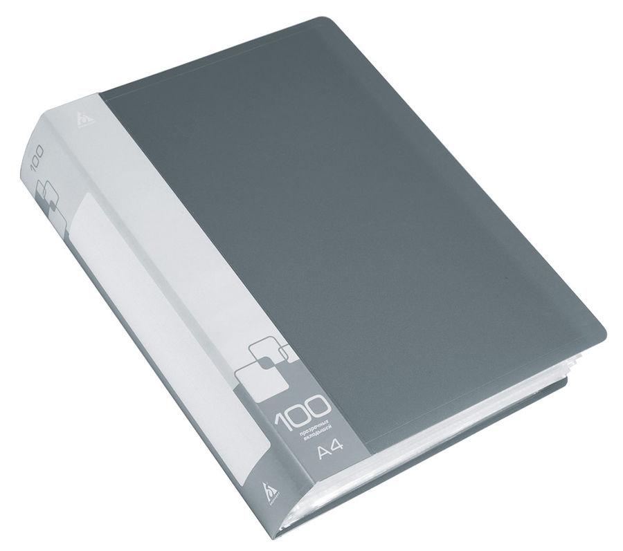 Папка с 100 прозр.вклад. Бюрократ -BPV100GREY A4 пластик 0.8мм торц.карм с бум. встав серый